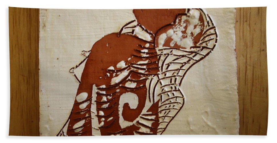 Jesus Bath Sheet featuring the ceramic art Nude 9 - Tile by Gloria Ssali