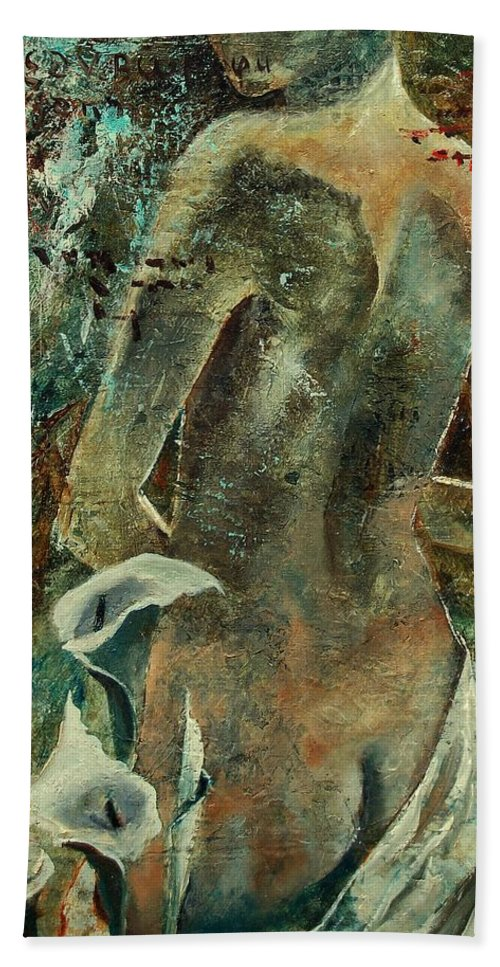 Girl Bath Towel featuring the painting Nude And Arums by Pol Ledent