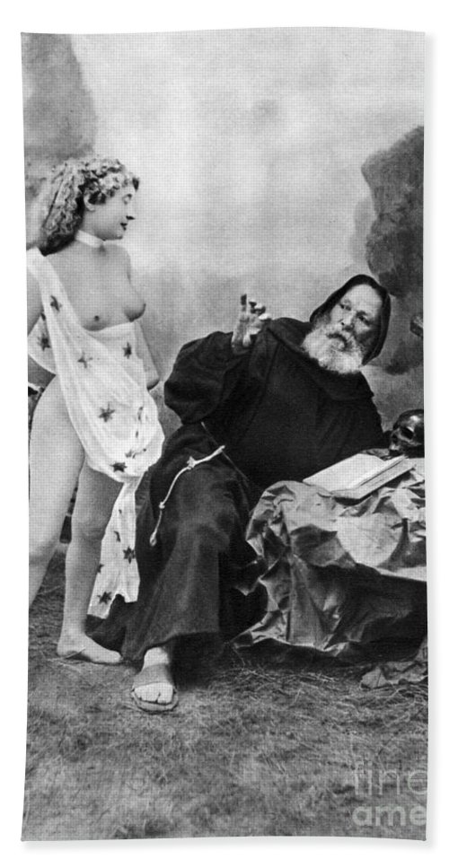 1895 Hand Towel featuring the photograph Nude And Monk, C1895 by Granger