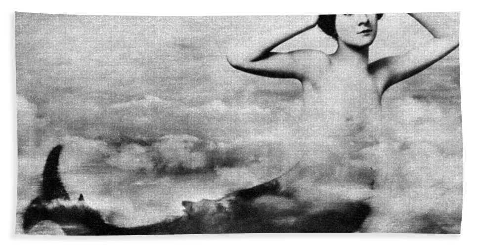 1890s Hand Towel featuring the photograph Nude As Mermaid, 1890s by Granger