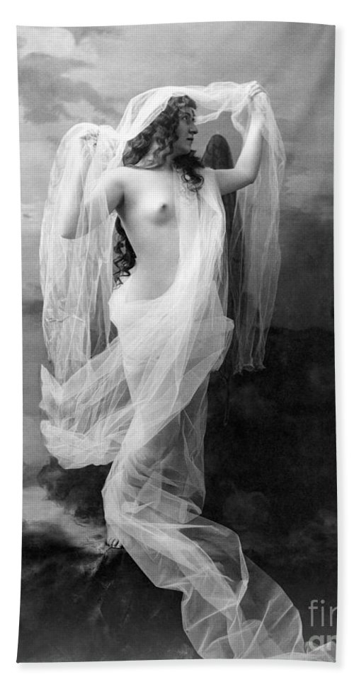 1900 Hand Towel featuring the painting Nude, C1900 by Granger