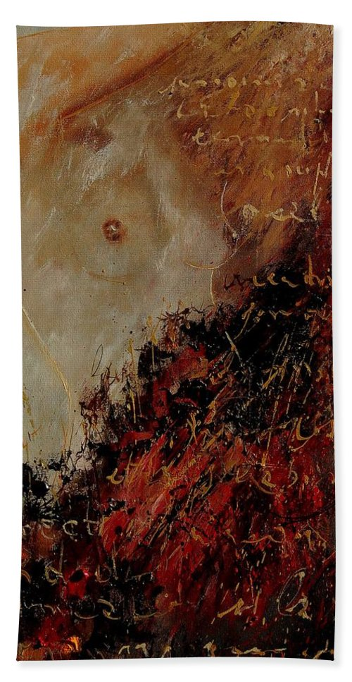 Girl Hand Towel featuring the painting Nude Coming Out Of Abstraction by Pol Ledent
