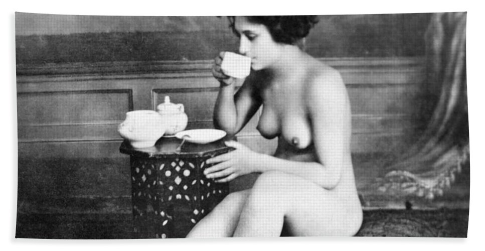 19th Century Hand Towel featuring the painting Nude Drinking Tea, 19th Ct by Granger