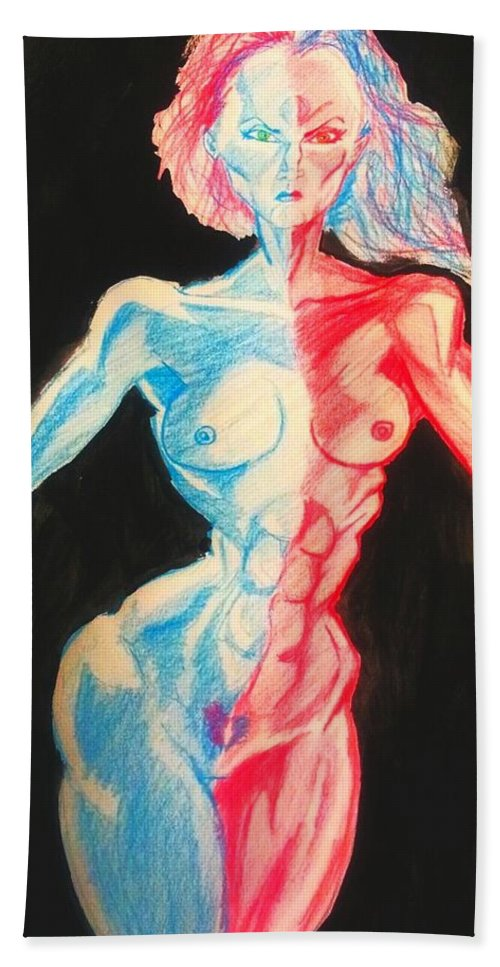 Nude Bath Sheet featuring the drawing Nude Female Sketch 27 by Mark Bradley