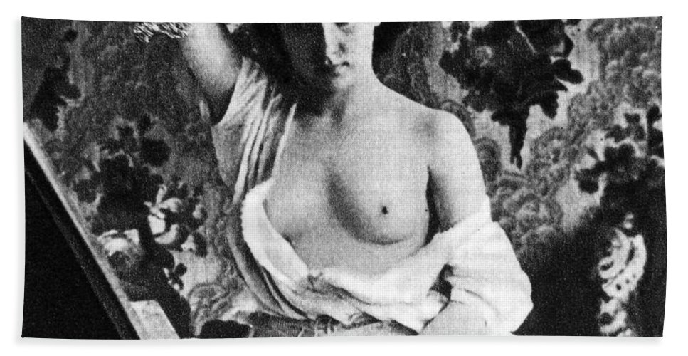 1861 Hand Towel featuring the photograph Nude Fixing Hair, C1861 by Granger