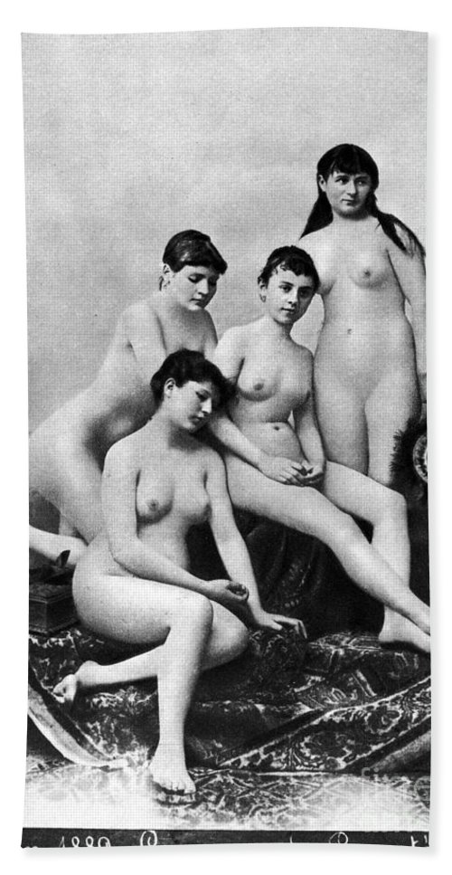 1889 Hand Towel featuring the photograph Nude Group, 1889 by Granger