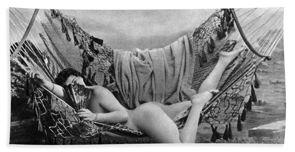 1885 Hand Towel featuring the photograph Nude In Hammock, C1885 by Granger