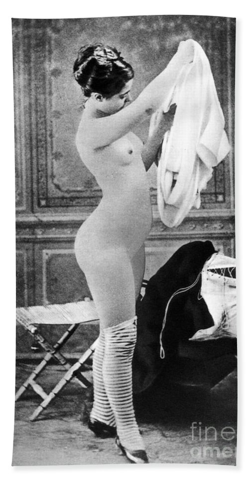 1880 Hand Towel featuring the photograph Nude In Stockings, C1880 by Granger