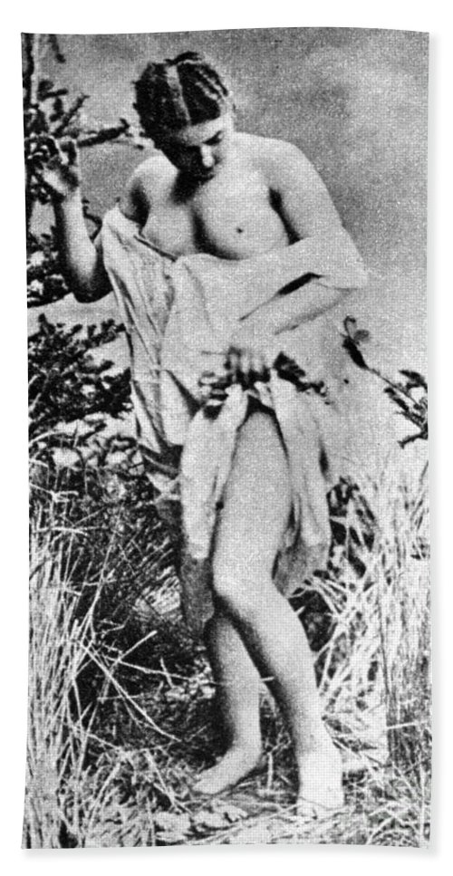 19th Century Hand Towel featuring the photograph Nude In Wilderness by Granger