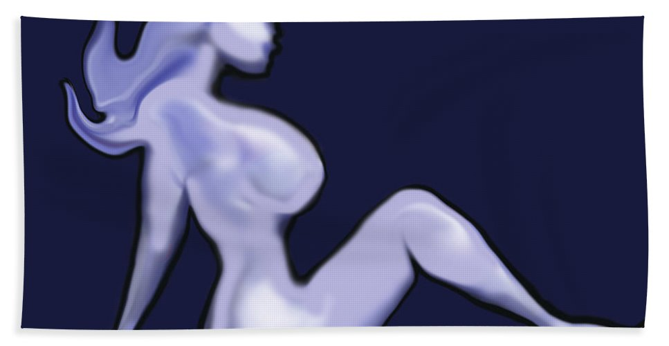 Babe Hand Towel featuring the digital art Nude by Kevin Middleton