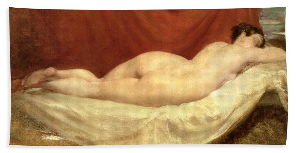 Nude Lying On A Sofa Against A Red Curtain (oil On Canvas) Bath Sheet featuring the painting Nude Lying On A Sofa Against A Red Curtain by William Etty