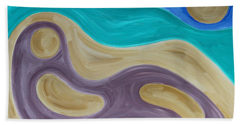 Beach Hand Towel featuring the painting Nude On Beach by Patrick J Murphy