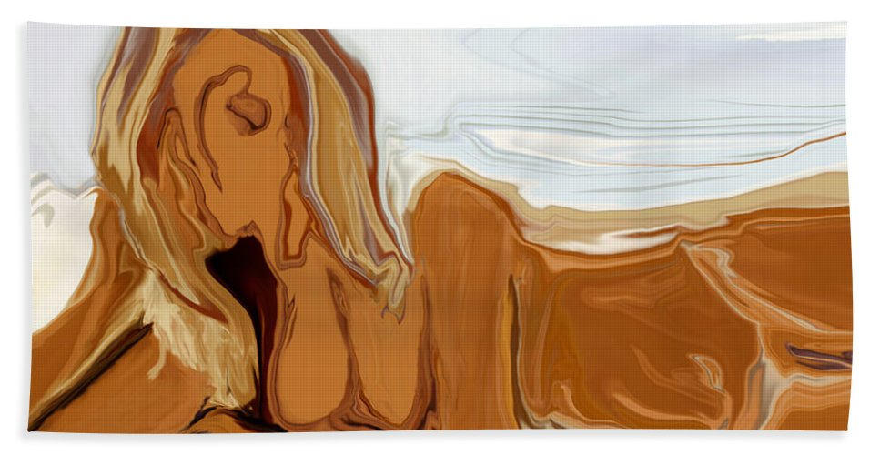 Abstract Hand Towel featuring the digital art Nude On The Beach by Rabi Khan