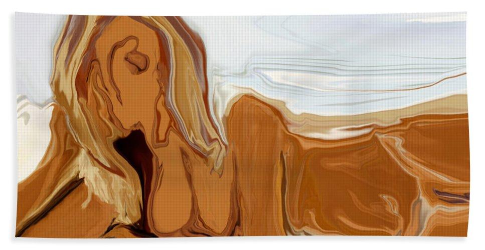Abstract Bath Towel featuring the digital art Nude On The Beach by Rabi Khan