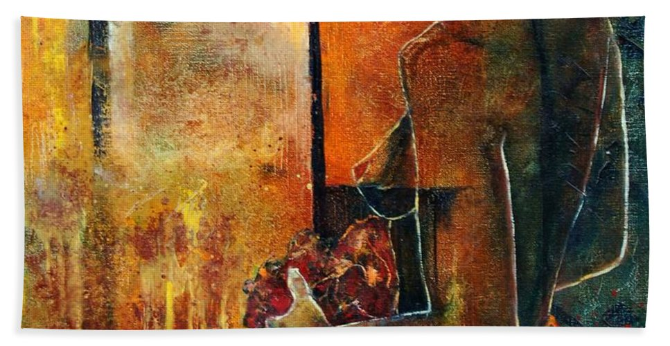 Woman Girl Fashion Nude Bath Towel featuring the painting Nude by Pol Ledent