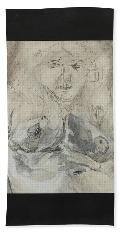 Nude Portrait Of Female. Hand Towel featuring the drawing Nude Portrait Of Albino Female by Lynne Guess