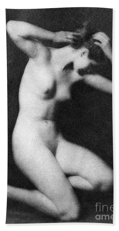 1910 Hand Towel featuring the photograph Nude Posing, C1910 by Granger