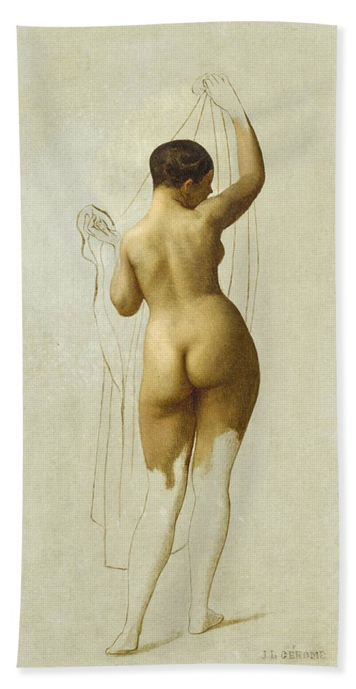 Jean-leon Gerome Hand Towel featuring the painting Nude. Queen Rodophe by Jean-Leon Gerome