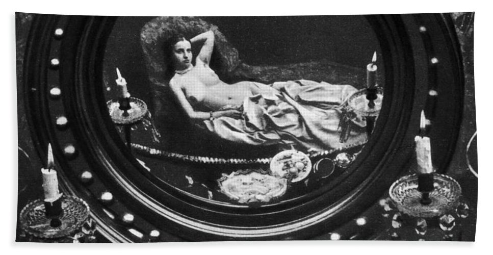 1860 Hand Towel featuring the photograph Nude Reflected In Mirror by Granger