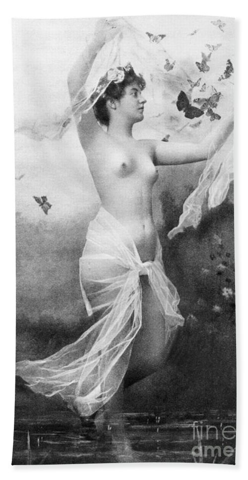 1900 Hand Towel featuring the painting Nude With Butterflies by Granger