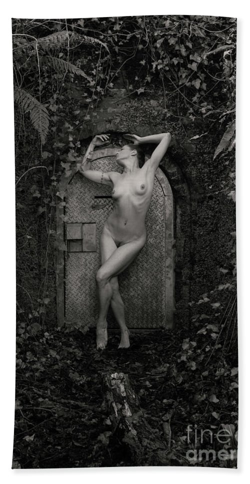 Nude Bath Sheet featuring the photograph Nude Woman And Doorway by Clayton Bastiani