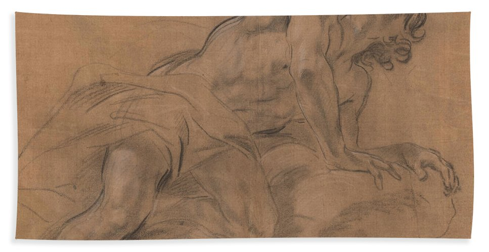 Hand Towel featuring the drawing Nude Youth Leaning On A Cloud And Gazing Upward by Giovanni Battista Beinaschi