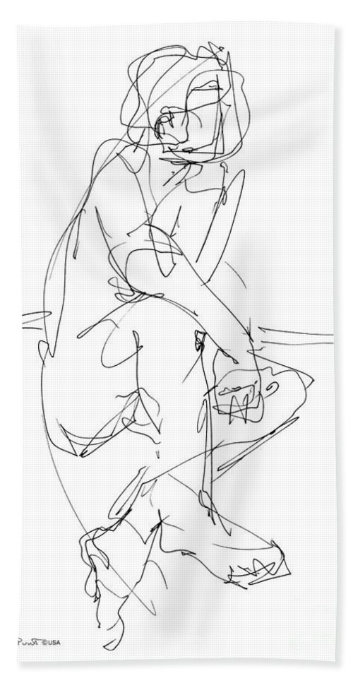 Male Bath Sheet featuring the drawing Nude_male_drawing_29 by Gordon Punt