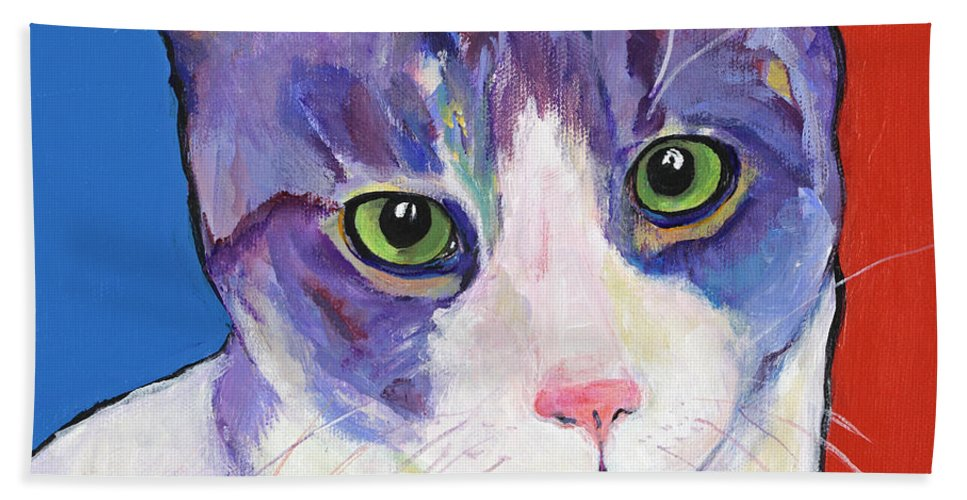 Green Eye Pussy Bath Sheet featuring the painting Nugget by Pat Saunders-White