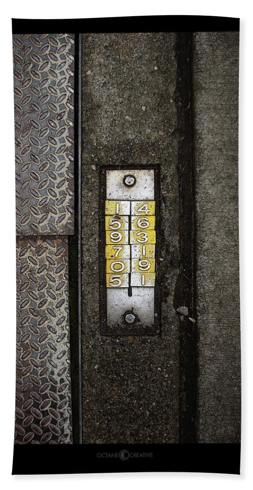 Numbers Bath Towel featuring the photograph Numbers On The Sidewalk by Tim Nyberg