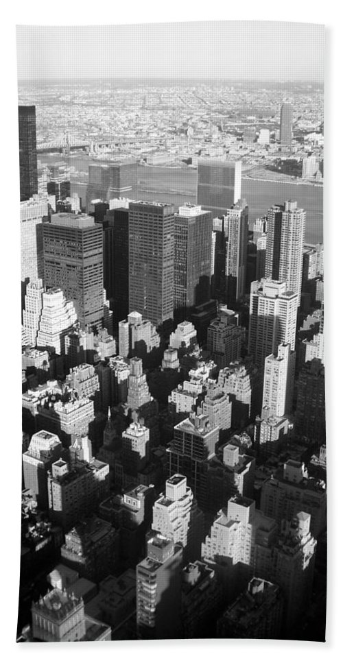 Nyc Bath Towel featuring the photograph Nyc Bw by Anita Burgermeister