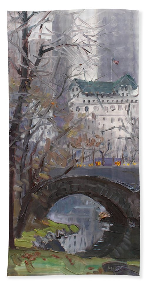 New York City Bath Towel featuring the painting Nyc Central Park by Ylli Haruni