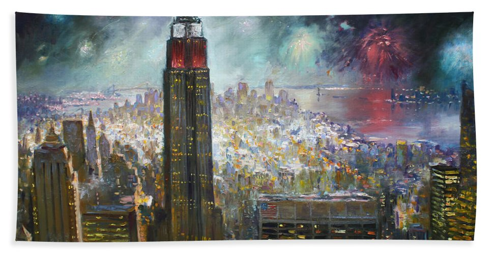 Landscape Bath Sheet featuring the painting Nyc. Empire State Building by Ylli Haruni