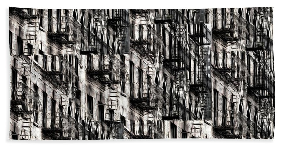 Building Bath Towel featuring the photograph Nyc Fire Escapes by Edward Fielding