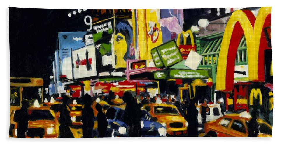 New York Bath Sheet featuring the painting NYC II The Temple of M by Robert Reeves
