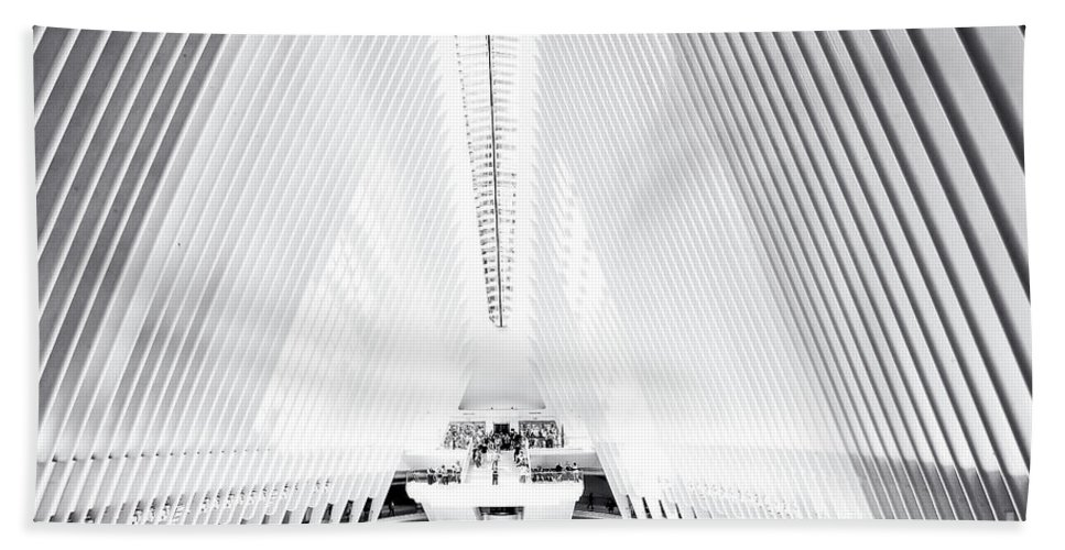 Oculus Bath Sheet featuring the photograph Nyc- Inside The Oculus In Black And White by Regina Geoghan