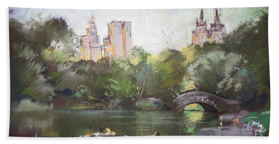 Ny City Bath Sheet featuring the pastel Nyc Resting In Central Park by Ylli Haruni