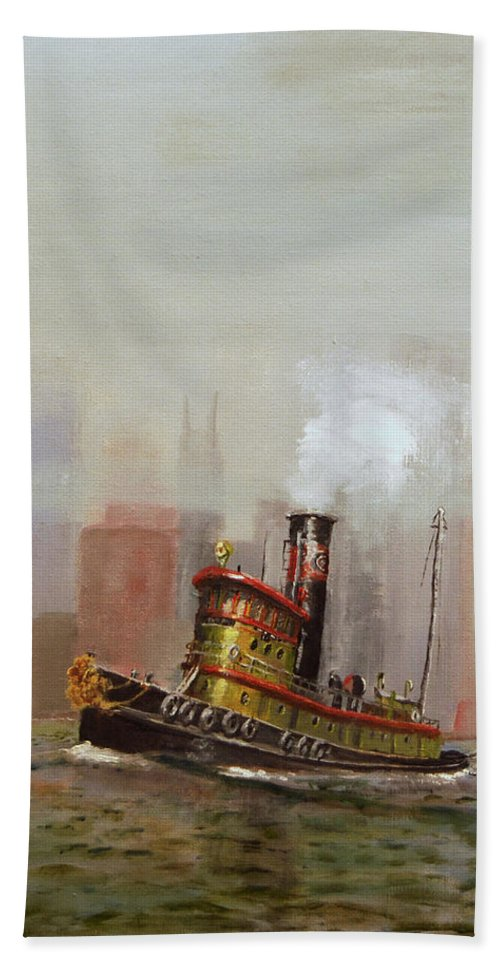 Tug Bath Towel featuring the painting Nyc Tug by Christopher Jenkins