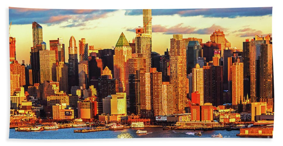Ny Skyline Sundown Hand Towel featuring the photograph Nyc West Side Skyscrapers At Sundown by Regina Geoghan