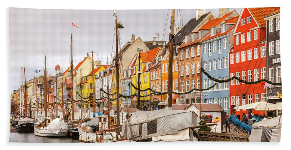Christmas Bath Sheet featuring the photograph Nyhavn Area Copenhagen by Sophie McAulay