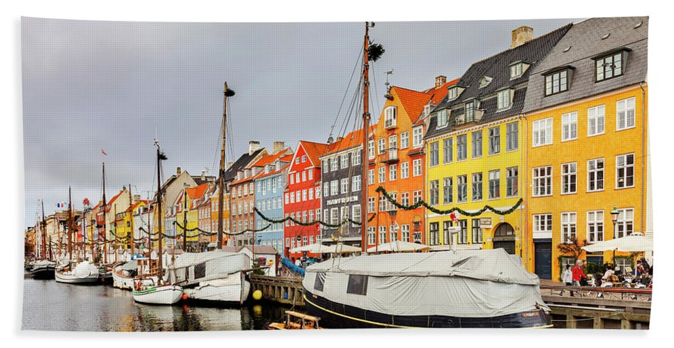 Christmas Bath Sheet featuring the photograph Nyhavn Harbour In Copenhagen by Sophie McAulay