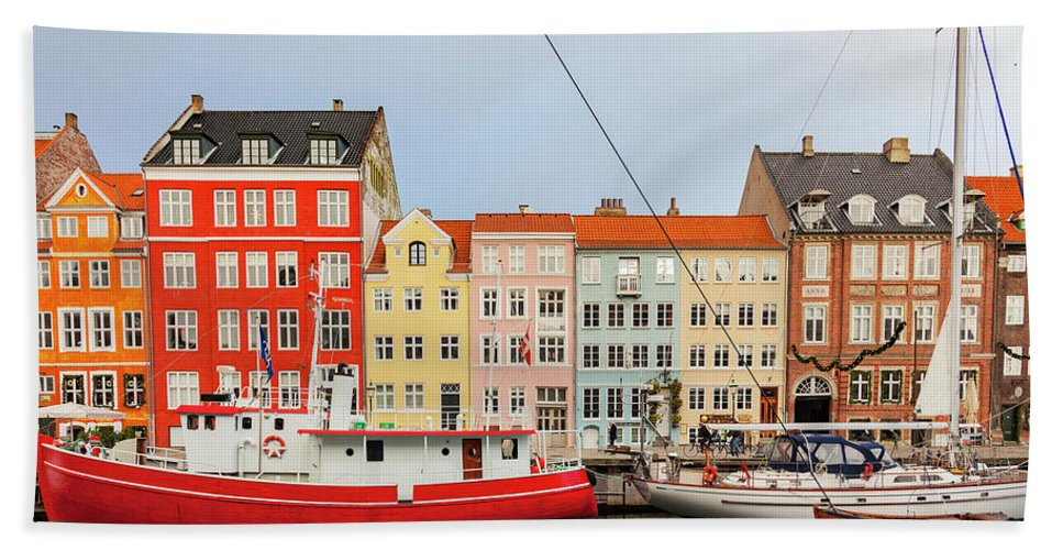Christmas Bath Sheet featuring the photograph Nyhavn In Copenhagen Denmark by Sophie McAulay