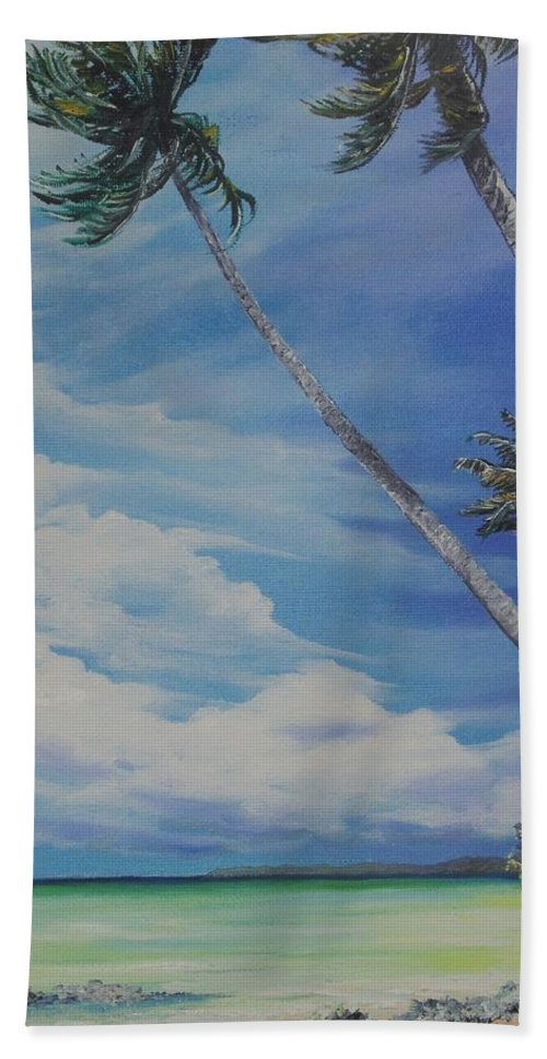 Trinidad And Tobago Seascape Hand Towel featuring the painting Nylon Pool Tobago. by Karin Dawn Kelshall- Best