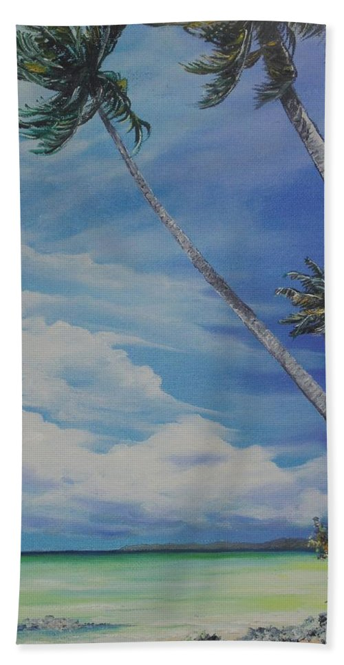Ocean Painting Seascape Painting Beach Painting Palm Tree Painting Clouds Painting Tobago Painting Caribbean Painting Sea Beach T Obago Palm Trees Hand Towel featuring the painting Nylon Pool Tobago. by Karin Dawn Kelshall- Best