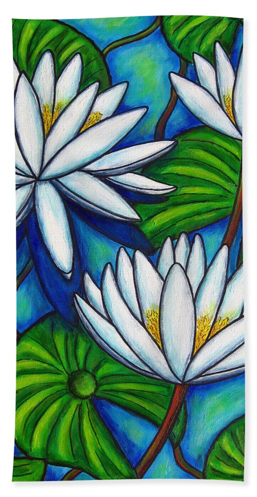 Lily Bath Towel featuring the painting Nymphaea Blue by Lisa Lorenz
