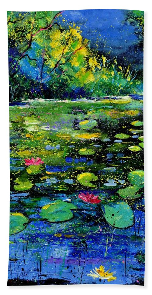 Nympheas Hand Towel featuring the painting Nympheas by Pol Ledent