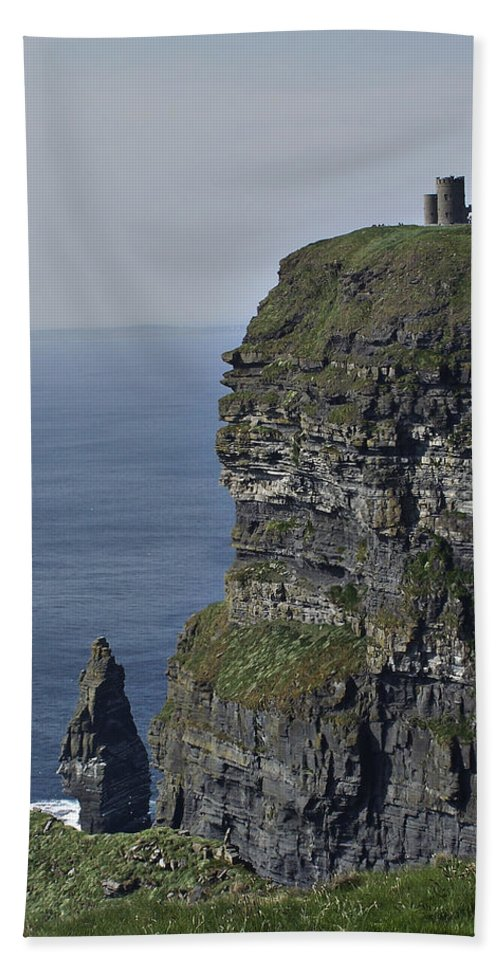 Irish Bath Sheet featuring the photograph O Brien's Tower At The Cliffs Of Moher Ireland by Teresa Mucha
