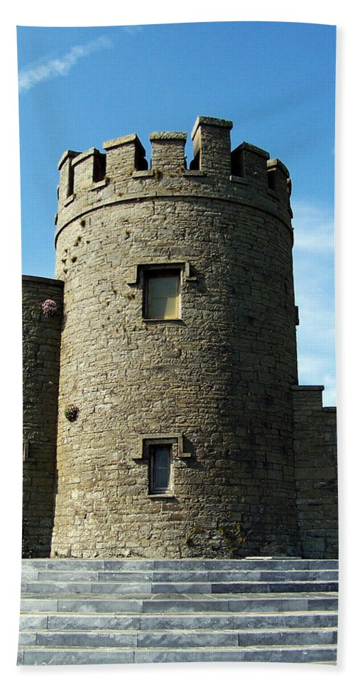 Irish Bath Sheet featuring the photograph O Brien's Tower Cliffs Of Moher Ireland by Teresa Mucha