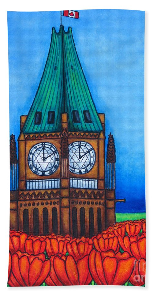 Canada Hand Towel featuring the painting O Canada by Lisa Lorenz