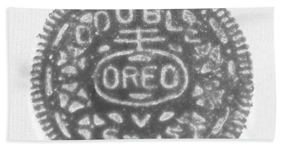 Oreo Hand Towel featuring the photograph O R E O In Black Negative by Rob Hans