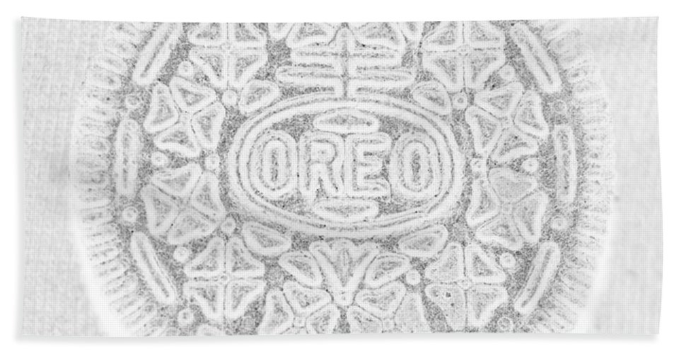 Oreo Hand Towel featuring the photograph O R E O In White by Rob Hans